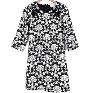 SKies Are Blue Black Damask Flower Cut Out Dress